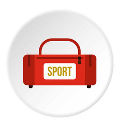 Red sports bag icon circle vector
