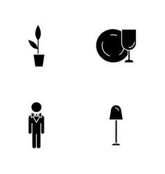Restaurant black glyph icons set on white space vector