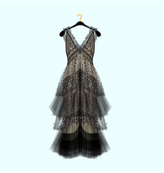 Retro style dress with rhinestones vector