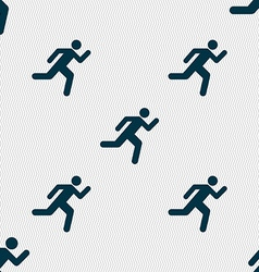 running man icon sign Seamless pattern with vector image