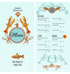 Seafood Menu Template vector image