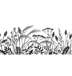 Seamless border with monochrome wild plants vector