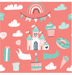 seamless pattern with pink princess castle flag vector image