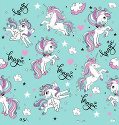 Seamless pattern with trendy magic unicorns vector