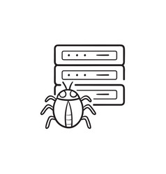 server infected by malware with bug hand drawn vector image