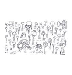 set etched vintage old door keys with keychains vector image