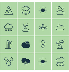 set of 16 world icons includes cloud oak sunny vector image