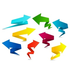 Set of colorful folded origami arrows vector