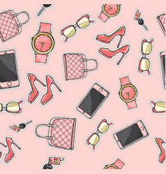 Set purse glasses cellphone shoes perfume vector