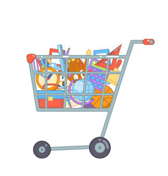 Shopping cart preparation education colladge vector