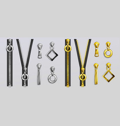 silver and gold zippers with pullers vector image