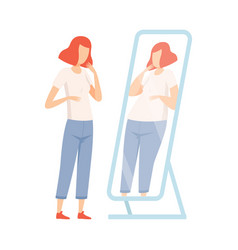 Slim teen girl seeing herself fat in mirror vector