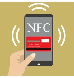 Smart phone with credit card on the screen and NFC vector