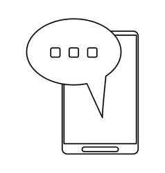 smartphone bubble speech conversation thin line vector image