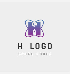 Space force logo design h initial galaxy rocket vector