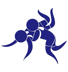 Sport icon design for wrestling in blue vector