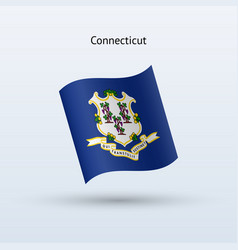State of connecticut flag waving form vector