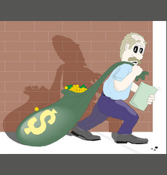thief carrying bag money with a dollar sign vector image