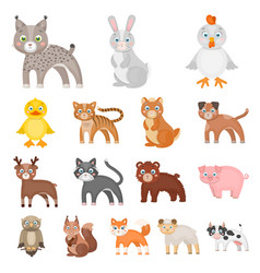 toy animals cartoon icons in set collection for vector image