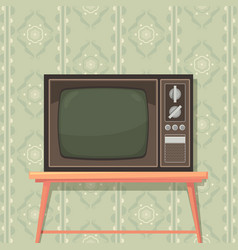 tv on table retro background with old tv set for vector image