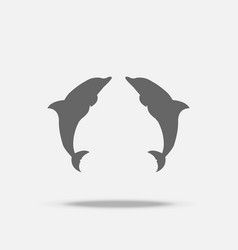 twin dolphins flat design icon with shadow vector image