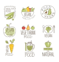 Vegan Raw And Healthy Food Promo Labels Collection vector
