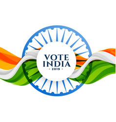 Vote india election background with flag vector