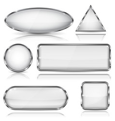 White glass buttons with chrome frame geometric vector