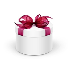 White Round Gift Box with Red Ribbon and Bow vector image