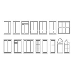 Windows set isolated on white background closed vector