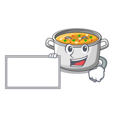 with board vegetable soup with pasta in pot vector image