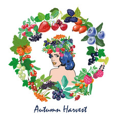 woman with berries frame and wreath autumn harvest vector image