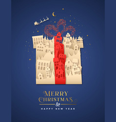 year paper cut gift box city house vector image