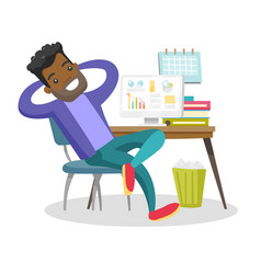 Young african-american employee relaxing in office vector