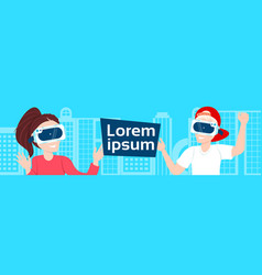 Young man and woman in vr glasses over background vector