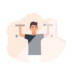 young smiling man lifting dumbbells male cartoon vector image