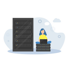 young woman programmer working with computer in vector image