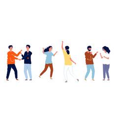 youth greetings girls guys say hello friends hug vector image