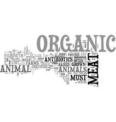 Athe health benefits of organic meat text word vector