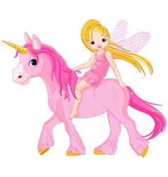 cute little fairy riding on a unicorn vector image vector image