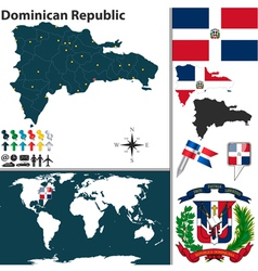 Dominican Republic map world vector image vector image