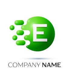 E letter splash logo green dots and circle bubble vector