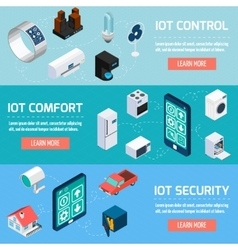 Iot household isometric banners set vector image vector image
