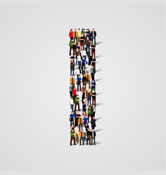 large group of people in letter i form vector image vector image