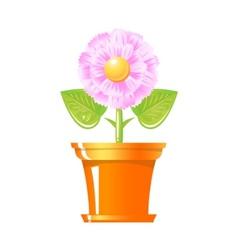 pink flower in pot vector image vector image