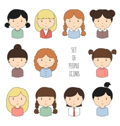 Set of colorful female faces icons Funny cartoon vector image vector image