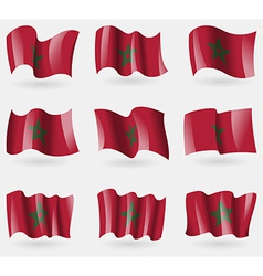 Set of Morocco flags in the air vector image vector image