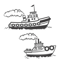 set of tugboat isolated on white background boat vector image vector image