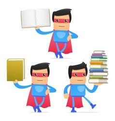superhero carrying book vector image