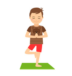 young boy standing in yoga pose vector image